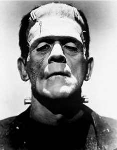 Frankenstein- Boris Karloff, Universal, Wikimedia commons, domaine public